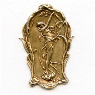 Art Nouveau Style Lady in a Lily Oxidized Brass 61mm (1)