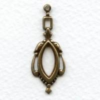 Elegant Openwork 36mm Pendant Drops Oxidized Brass (6)