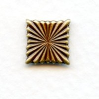 Fluted Square Embellishments 9mm Oxidized Brass