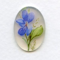 Blue Violet German Decal Cabochon 25x18mm