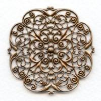 ^Filigree Ornate Flat 48mm Oxidized Copper (1)
