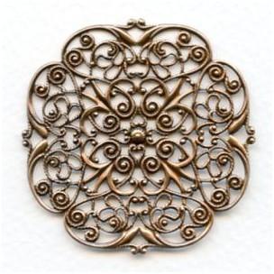 Filigree Ornate Flat 48mm Oxidized Copper (1)