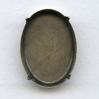 ^Oval Oxidized Brass Pronged Settings 30x22mm