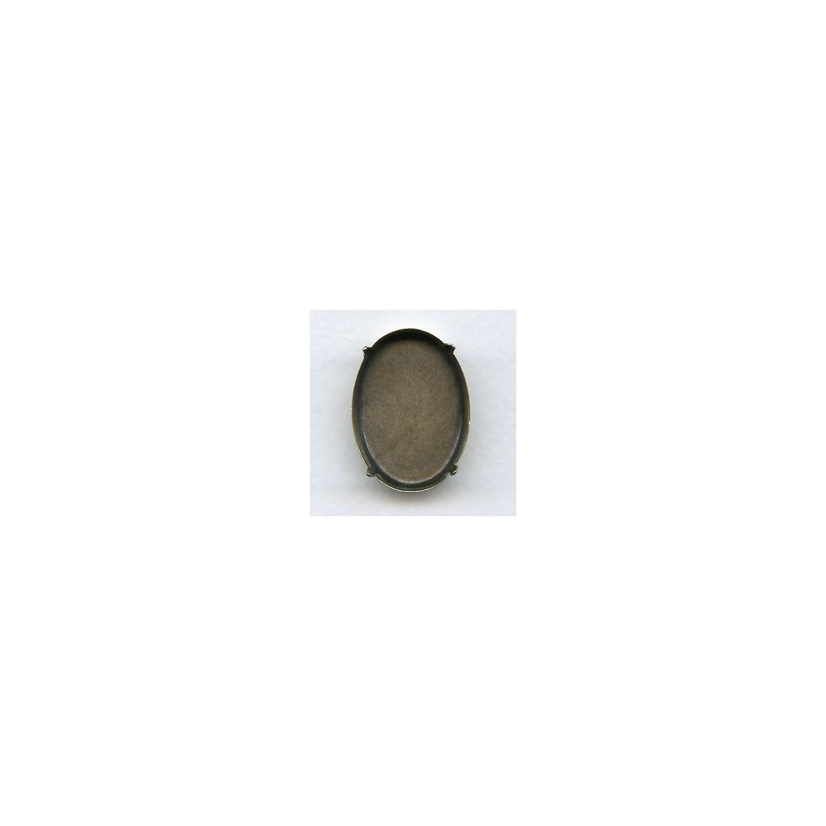 Oval Oxidized Brass Pronged Settings 30x22mm