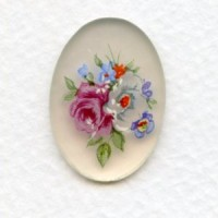 Decal German Floral Painting 25x18mm Cabochon