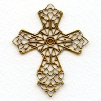 Flat Filigree Cross Oxidized Brass 50mm