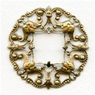 Ornately Detailed Frame Filigree Oxidized Brass 48mm