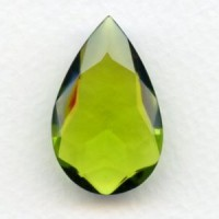 Olivine Glass Pear Shaped Unfoiled Stone 32x20mm