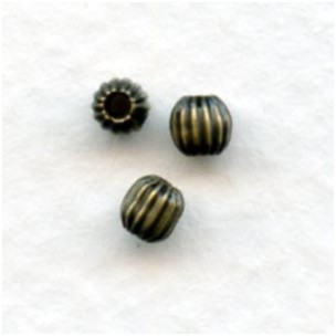 Corrugated Oxidized Brass Spacer Beads 3mm (24)