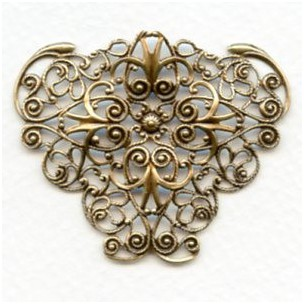 Ornate Filigree 47mm Triangle Shape Oxidized Brass (1)