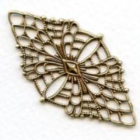 Fine Detail Diamond Shaped Filigree Oxidized Brass (1)
