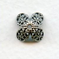 Fancy Filigree Bead Caps Oxidized Silver (12)