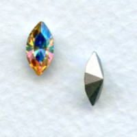 Navette Crystal AB Foiled Back Rhinestones 10X5mm