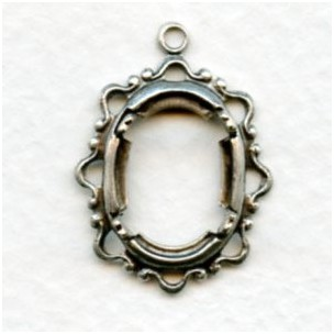 Openwork 14x10mm Settings Oxidized Silver (2)