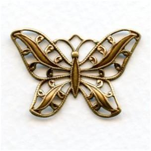 Filigree Butterflies 30mm Oxidized Brass (3)