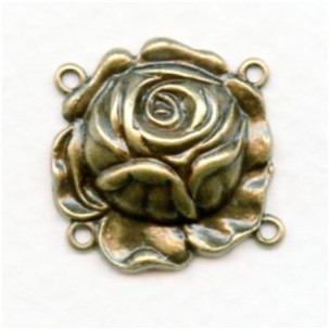 The Rose Connector with 4 Loops Oxidized Brass