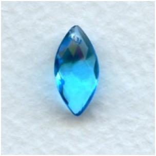^Aqua Briolette Marquis Shape Glass Pendant 14x7mm