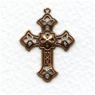 Filigree Cross Pendants Oxidized Copper 26MM (12)
