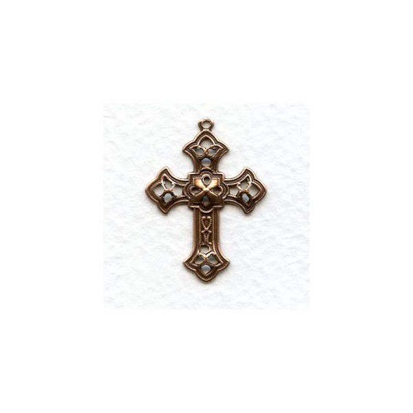 Filigree cross pendants oxidized copper 26mm 12 filigree cross pendants oxidized copper 26mm aloadofball Image collections