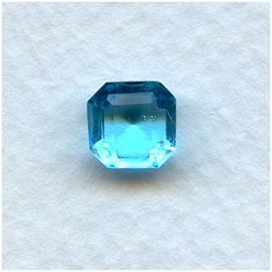 ^Aquamarine Glass Square Octagon Stones 8x8mm