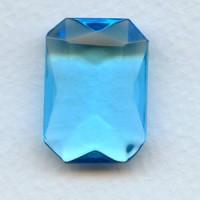 Aquamarine Glass Octagon Unfoiled 25x18mm