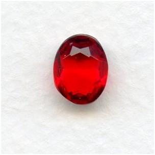 Siam Glass Oval Unfoiled Jewelry Stones 10x8mm