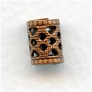 Filigree Spacer Tubes 8x6mm Oxidized Copper (12)