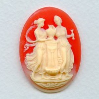 Cameo Women at Fountain Ivory on Carnelian 40x30mm