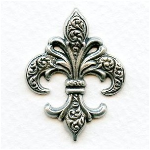 Beautiful Fleur-de-Lis Stampings Oxidized Silver (3)