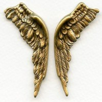 Large Wings Oxidized Brass 58mm (1 set)