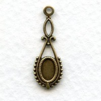 Delicate Pendant Settings Oxidized Brass 24mm