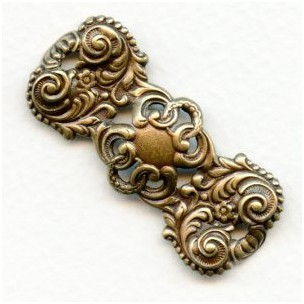 Ornate Narrow Rectangle Stamping Oxidized Brass (2)