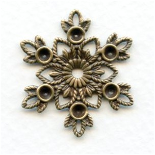 Snowflake Center Piece Rhinestone Settings Oxidized Brass