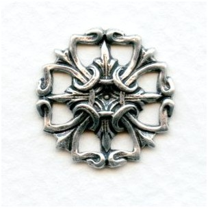 Small Openwork Oxidized Silver Stampings 19mm (4)