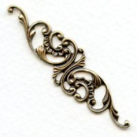 Elegant Filigree Scrollwork 63mm Oxidized Brass (1)