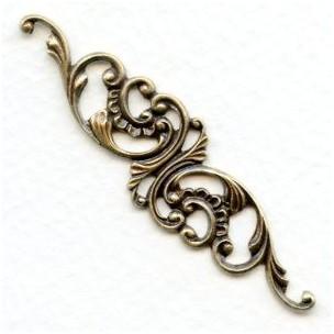 Elegant Filigree Scrollwork 63mm Oxidized Brass (1)
