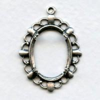 Filigree Fancy Edge Setting 18x13mm Oxidized Silver