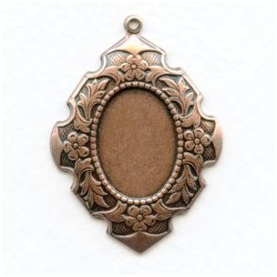 Elegant Detailed 18x13mm Setting Oxidized Copper