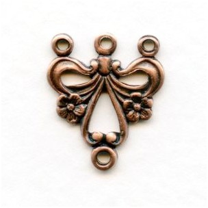 Three Strand Floral Connector Oxidized Copper (12)