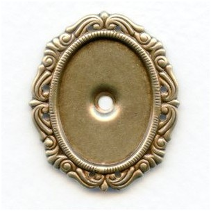 Ornate Settings with Rivet Hole Oxidized Brass 25x18mm