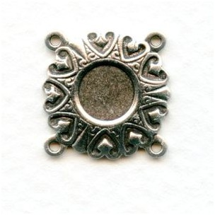 Bracelet Connectors Hearts Oxidized Silver 4 Loops