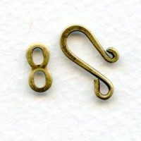 Hook and Eye Closures for Necklaces Oxidized Brass (12 sets)