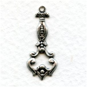 Delicate Pendants 25mm Oxidized Silver (12)
