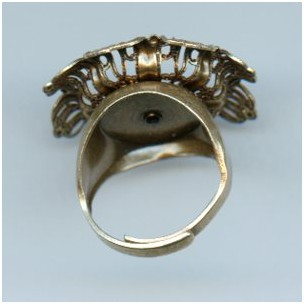 Adjustable Ring with Filigree Flower Setting Oxidized Brass (1)