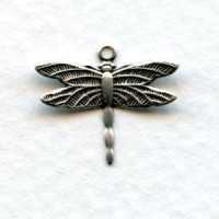 Dragonfly Charms Upturned Wings Oxidized Silver (12)