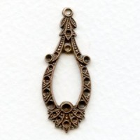 Exceptional Pendant with Rhinestone Settings Oxidized Copper (1)