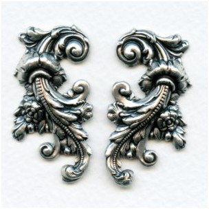 Elaborate Flourishes Oxidized Silver 42mm (1 Set)