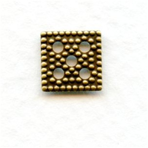 Flat Square Oxidized Brass Filigree Bead Caps 7.5mm (24)