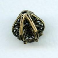 Exquisite Filigree Bead Cap Oxidized Brass (1)