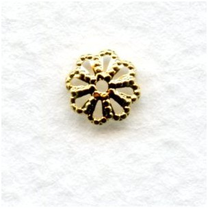 Filigree Bead Caps 6mm Bright Gold Plated Brass (50)